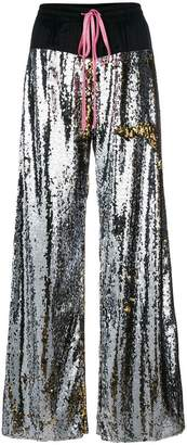 Nude sequin palazzo trousers