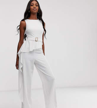 Asos Tall DESIGN Tall belted jumpsuit with drape peplum