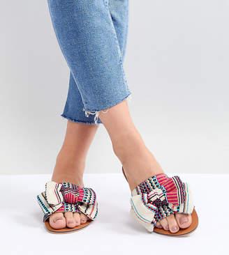 Asos DESIGN Vintage Wide Fit Bow Flat Sandals