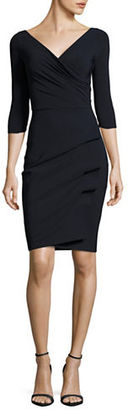 La Petite Robe Di Chiara Boni Three-Quarter-Sleeve Pleated Sheath Dress $625 thestylecure.com
