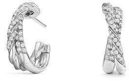 David Yurman 18k Paveflex Diamond Hoop Earrings, 1.0tcw