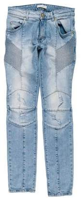 Pierre Balmain Distressed Skinny Biker Jeans