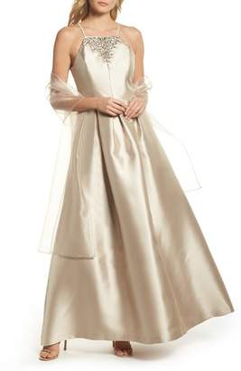 Vince Camuto Beaded Neck Mikado Ballgown with Shawl