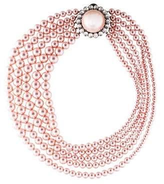Miu Miu Faux Pearl & Crystal Multistrand Necklace