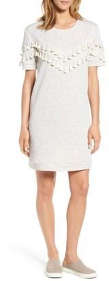 Petite Women's Caslon Tassel Trim Fleece Knit Dress $69 thestylecure.com
