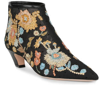 Christian Dior Floral Embroidery Ankle Boot