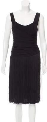 Michael Kors Ruched Fringe Dress