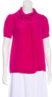 Tibi Short Sleeve Silk Blouse