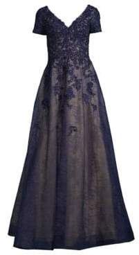 Basix II Black Label Beaded Lace A-Line Gown