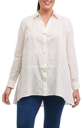 Foxcroft Daniela Windowpane Tunic Shirt