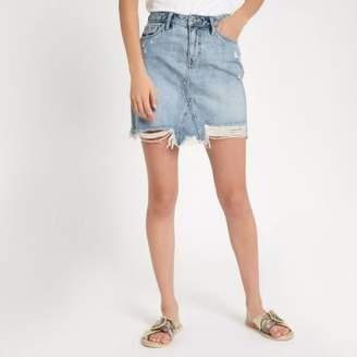 River Island Womens Light blue wash ripped denim mini skirt