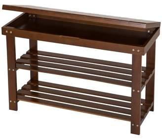 Mllieroo Bamboo 2 Tier Shoe Rack Storage Bench Organizer Entryway Organizing Shelf with Storage DrawerAmber