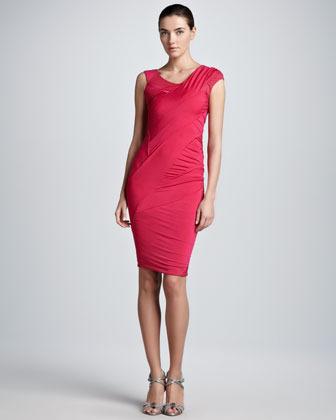 Donna Karan Off-Shoulder Jersey Dress, Shocking Pink