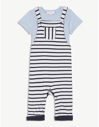 The Little White Company Pique cotton dungarees set 1-6 years