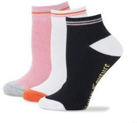 Juicy Couture Three-Pack Striped Ankle Socks