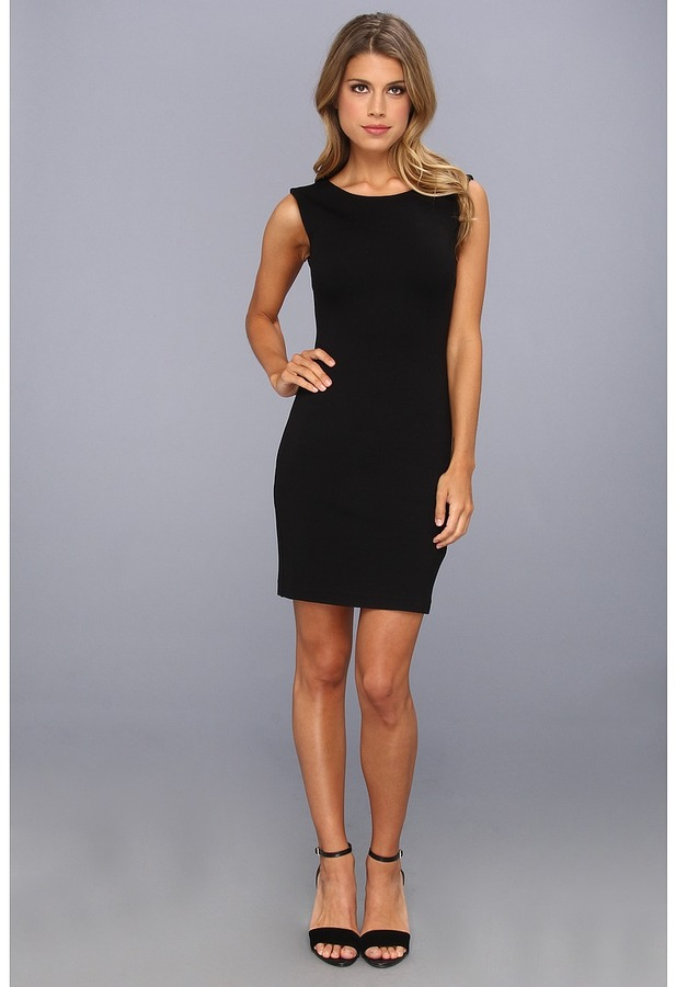 Juicy Couture Solid Ponte Dress (Pitch Black) - Apparel