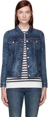Levi's Blue Denim Boyfriend Trucker Jacket $95 thestylecure.com