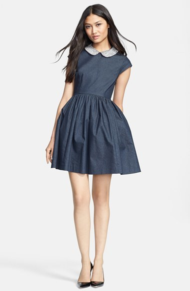 Kate Spade Women's 'Kimberly' Embellished Denim Fit & Flare Dress