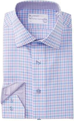 Lorenzo Uomo Textured Check Trim Fit Dress Shirt