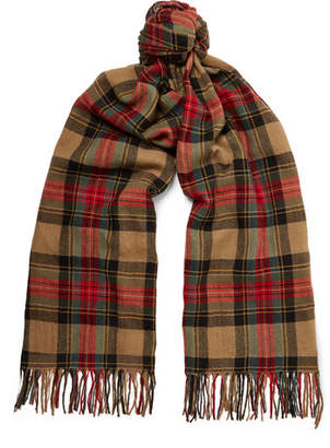 Dries Van Noten Fringed Checked Wool And Cotton-Blend Scarf