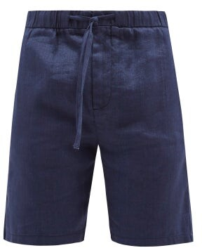 Frescobol Carioca - Drawstring Waist Slim Leg Linen Blend Shorts - Mens - Navy