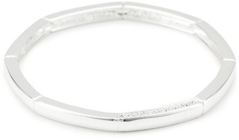 T Tahari Silver and Crystal Bangle Bracelet