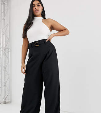PrettyLittleThing Plus Plus wide leg pant with tortoiseshell ring belt in black