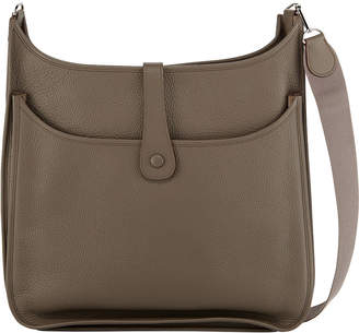 Hermes Evelyn Leather Crossbody Bag, Gray