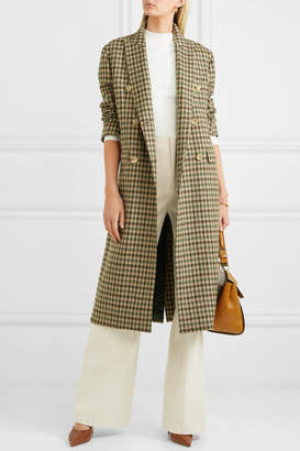 Giuliva Heritage Collection Cindy Double-breasted Checked Merino Wool Coat - Taupe