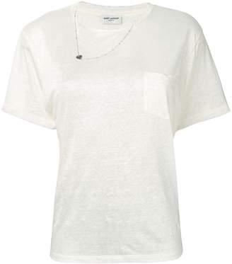 Saint Laurent necklace detail T-shirt
