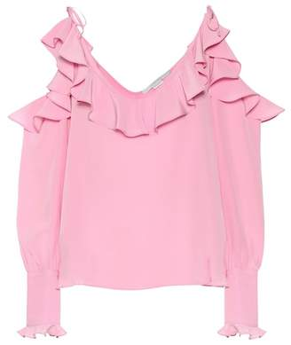 Stella McCartney Cold-shoulder silk blouse