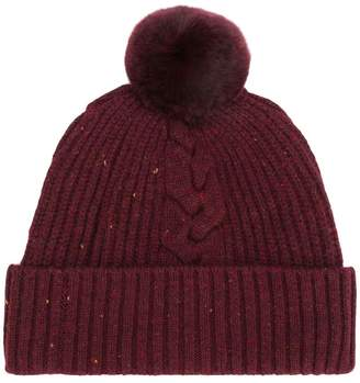 N.Peal fur bobble cable beanie