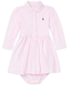 Ralph Lauren Girls' Striped Mesh Oxford Dress & Bloomers Set - Baby