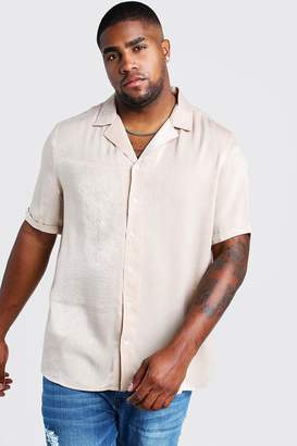 boohoo Big & Tall Revere Collar Crepe Shirt