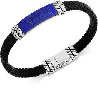 Effy Men Lapis Lazuli Leather Braided Bracelet in Sterling Silver (Also in Malachite or Onyx)