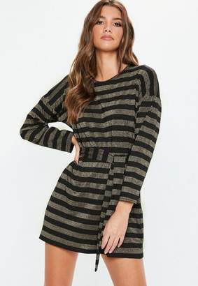 Missguided Black Tie Waist Glitter Stripe T-Shirt Dress