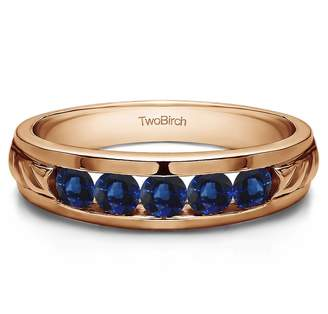 Gents TwoBirch 14k Rose Gold Wedding Band Sapphire(1Ct)Size 3 To 15 in 1/4 Size Intervals