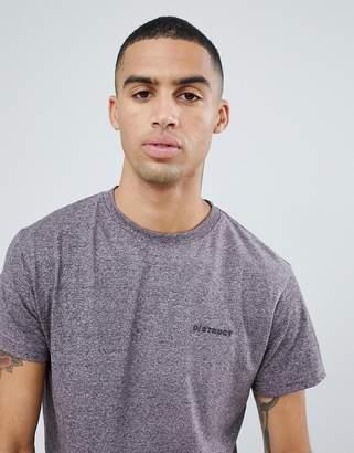 D-Struct Marl Logo Long Line Curved Hem T-Shirt