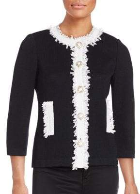 St. John Wool Blend Fringe Trim Jacket