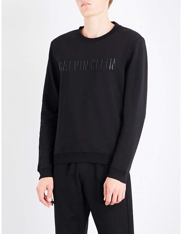 Calvin Klein Kaem logo-embroidered cotton-blend sweatshirt