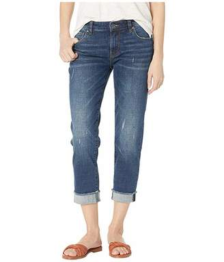 KUT from the Kloth Amy Crop Straight Leg Jeans w/ Roll Up Fray Hem in Kiss w/ Dark Stone Base Wash