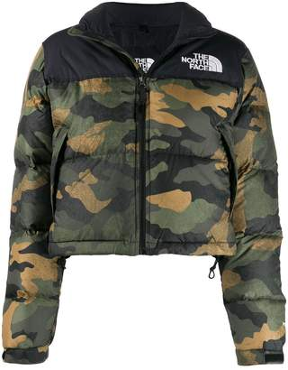 The North Face camouflage print padded jacket