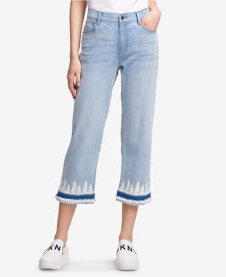 DKNY Tie Dye-Hem Cropped Jeans