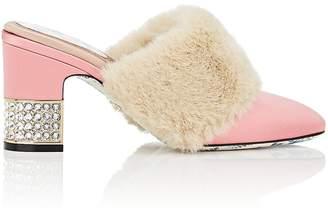Gucci Women's Faux-Fur-Trimmed Satin Mules