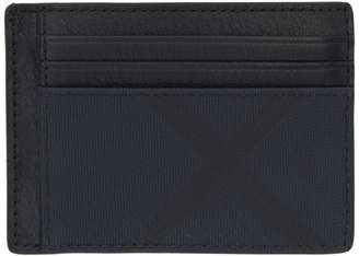 Burberry Navy and Black London Check Money Clip Card Holder