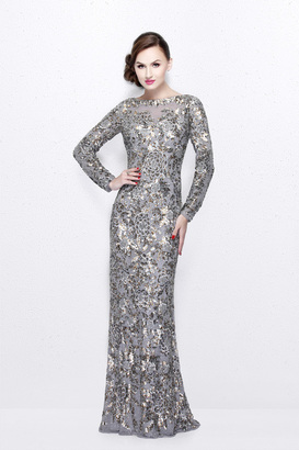 Primavera Couture - Long Sleeve Luxurious Floral Sequined Long Sheath Gown 1401 $499 thestylecure.com