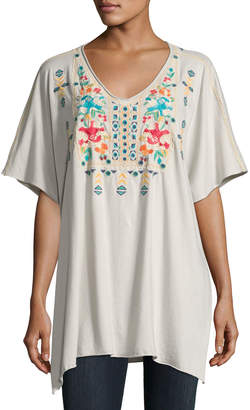 JWLA For Johnny Was Embroidered V-Neck Poncho, Sand $115 thestylecure.com