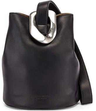 Bottega Veneta Drop Bucket Bag in Black & Silver   FWRD