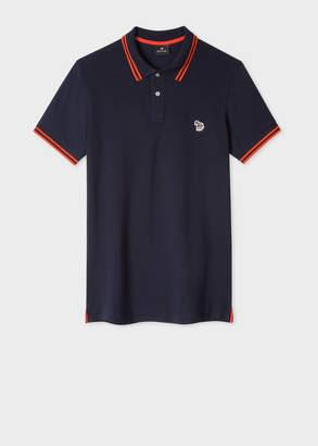Paul Smith Men's Slim-Fit Dark Navy Zebra Polo Shirt With Orange Tipping