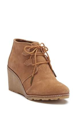 Toms Toffee Suede Wedge Bootie